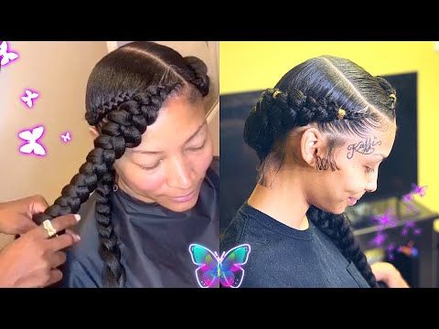 Two Quick And Easy Goddess Butterfly Braid Natural Hair Protective Style Youtube Natural Hair Styles Feed In Braids Hairstyles Two Braid Hairstyles