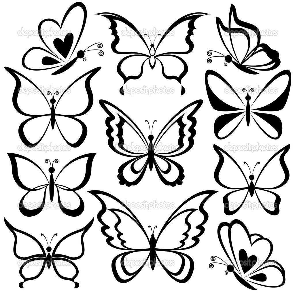 Butterflies, black contours — Stock Illustration