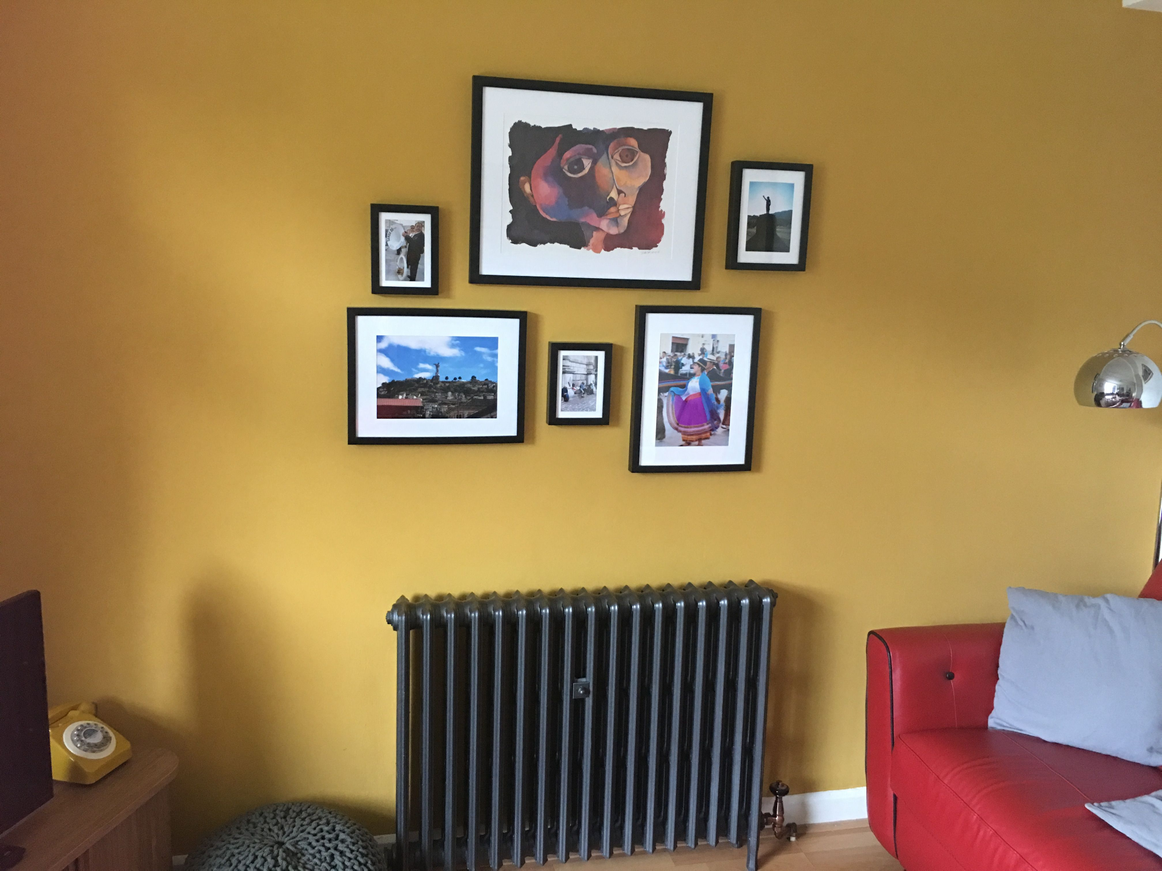 Living room feature wall in Wickes Lions Mane paint | Colour ...