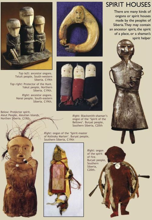 Siberian spirit figures or ongons. These figures are enlivened and become houses for a shaman's spirit helper. Source: Sacred Hoop/3worlds.co.uk
