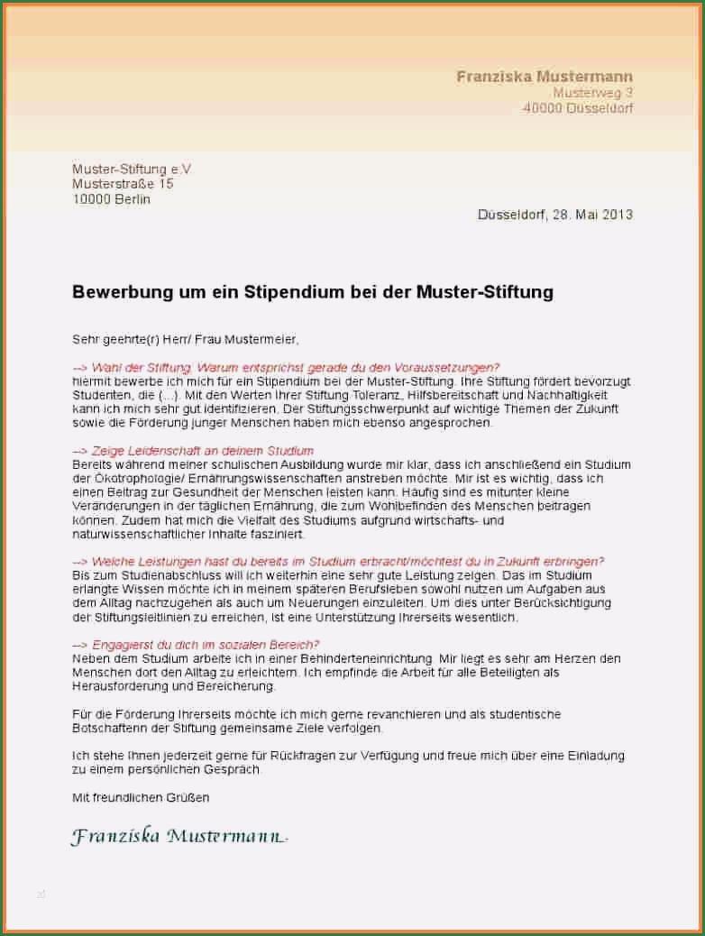 Motivationsschreiben Muster Stipendium Fliesstext 5