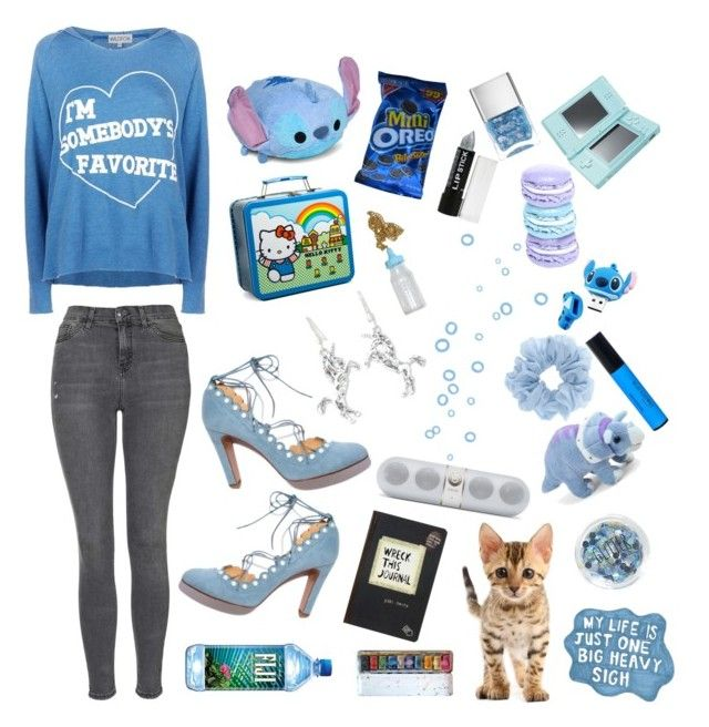 """""""Somebody's favorite"""" by bobglitter ❤ liked on Polyvore featuring Wildfox, Topshop, Hello Kitty, NOVICA, Disney, Nails Inc., Nintendo, women's clothing, women's fashion and women"""