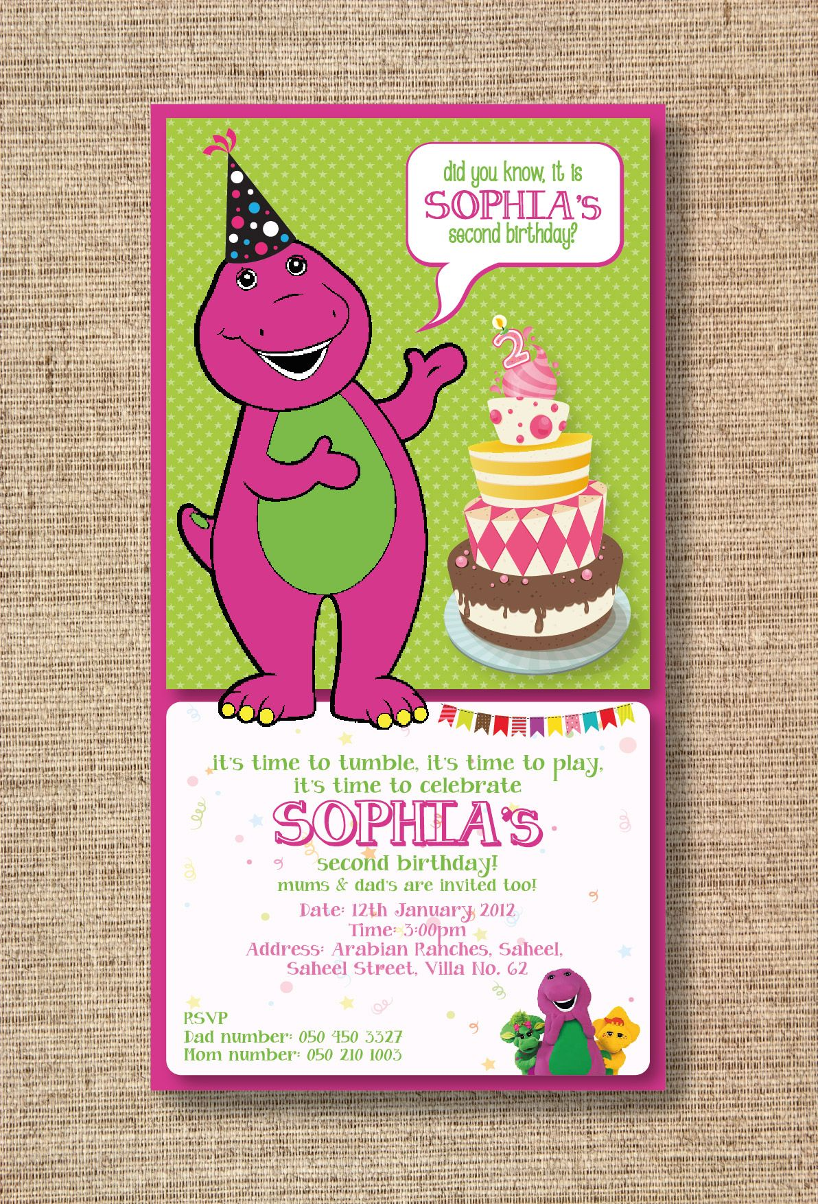 Barney Theme E Invitation Purple Green Birthday Birthdaytheme Creativeboxdubai Dubaikids Kid Dubai