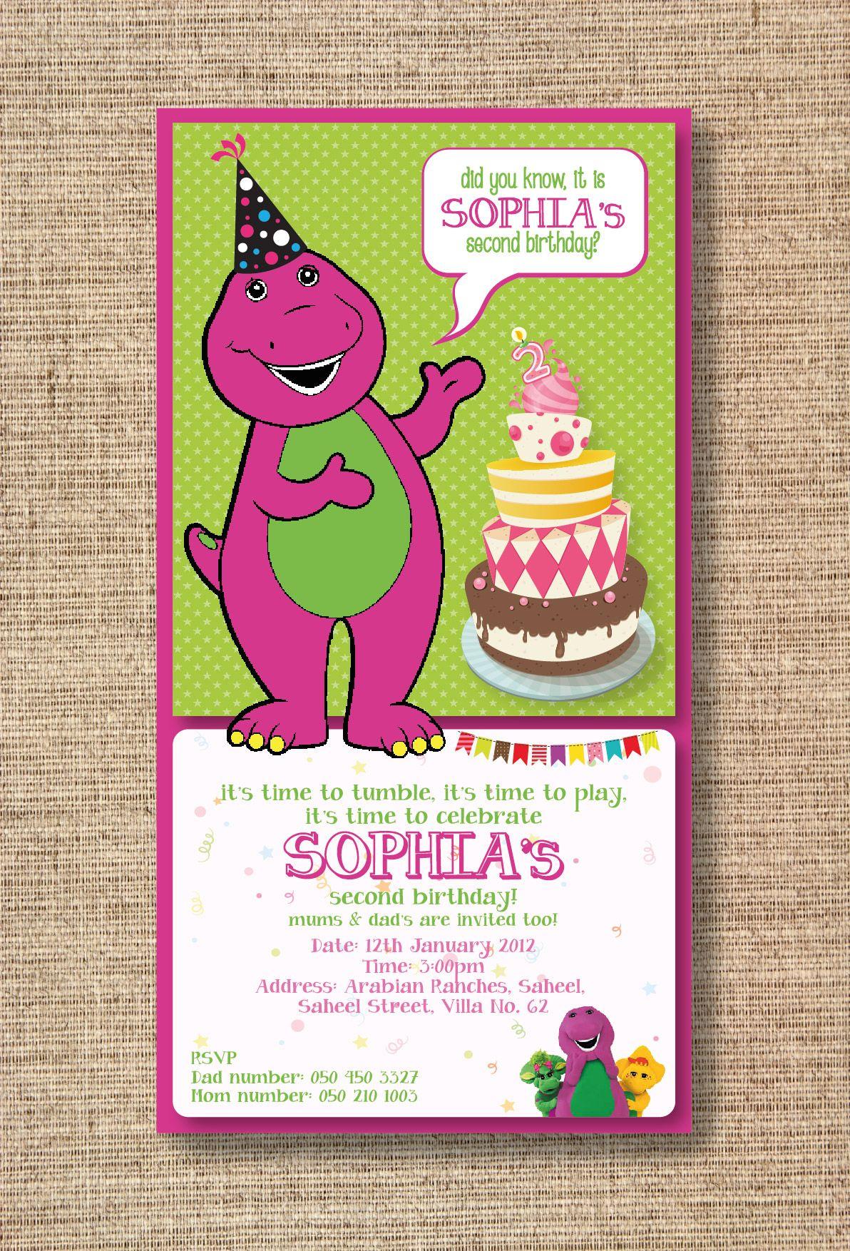 Barney Theme EInvitation barney purple green invitation – E-invitation for Birthday