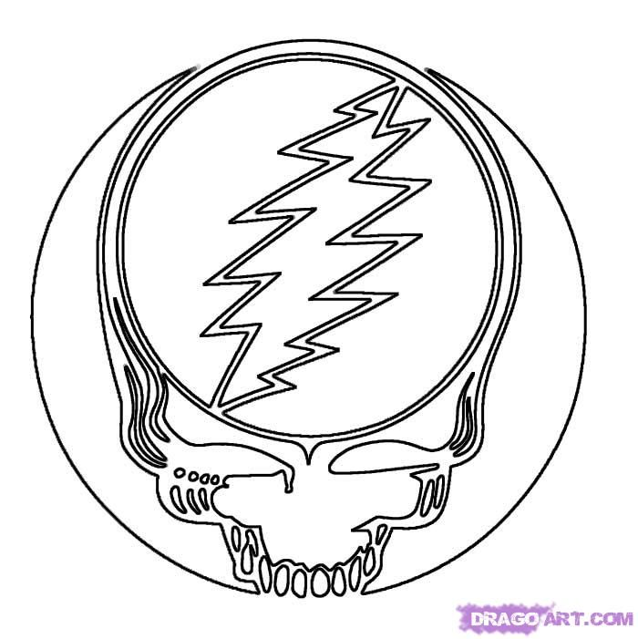 Grateful Dead Skull Coloring Page Art Pinterest Grateful Dead