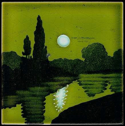 Art1900, Antiquitäten, Berlin, Kurfürstendamm 53, Jugendstil, Landschaft, Fliese, art 1900, art nouveau tile