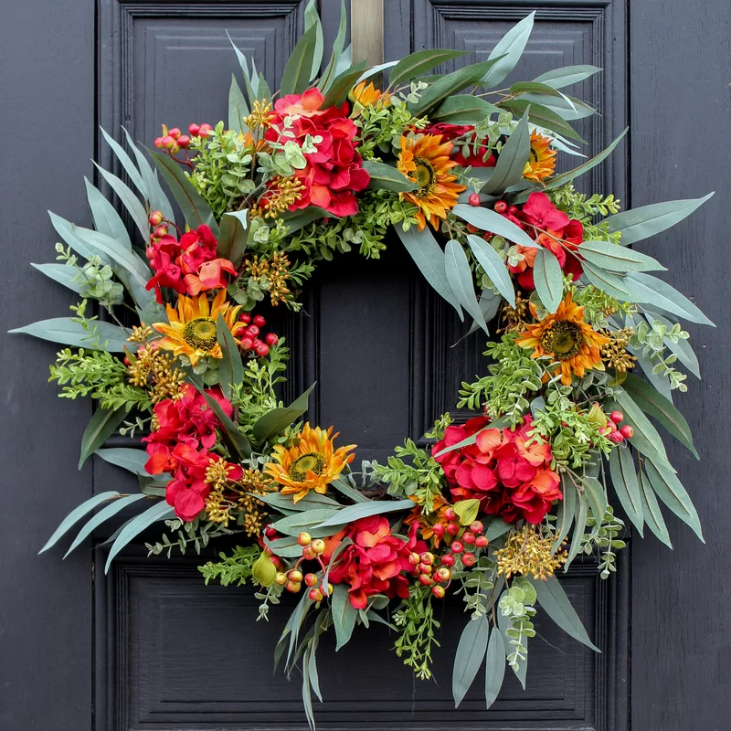 Rosalind Wheeler Autumn Hydrangea and Sunflower Wild Eucalyptus Berry Front Door Fall Silk Wreath | Birch Lane