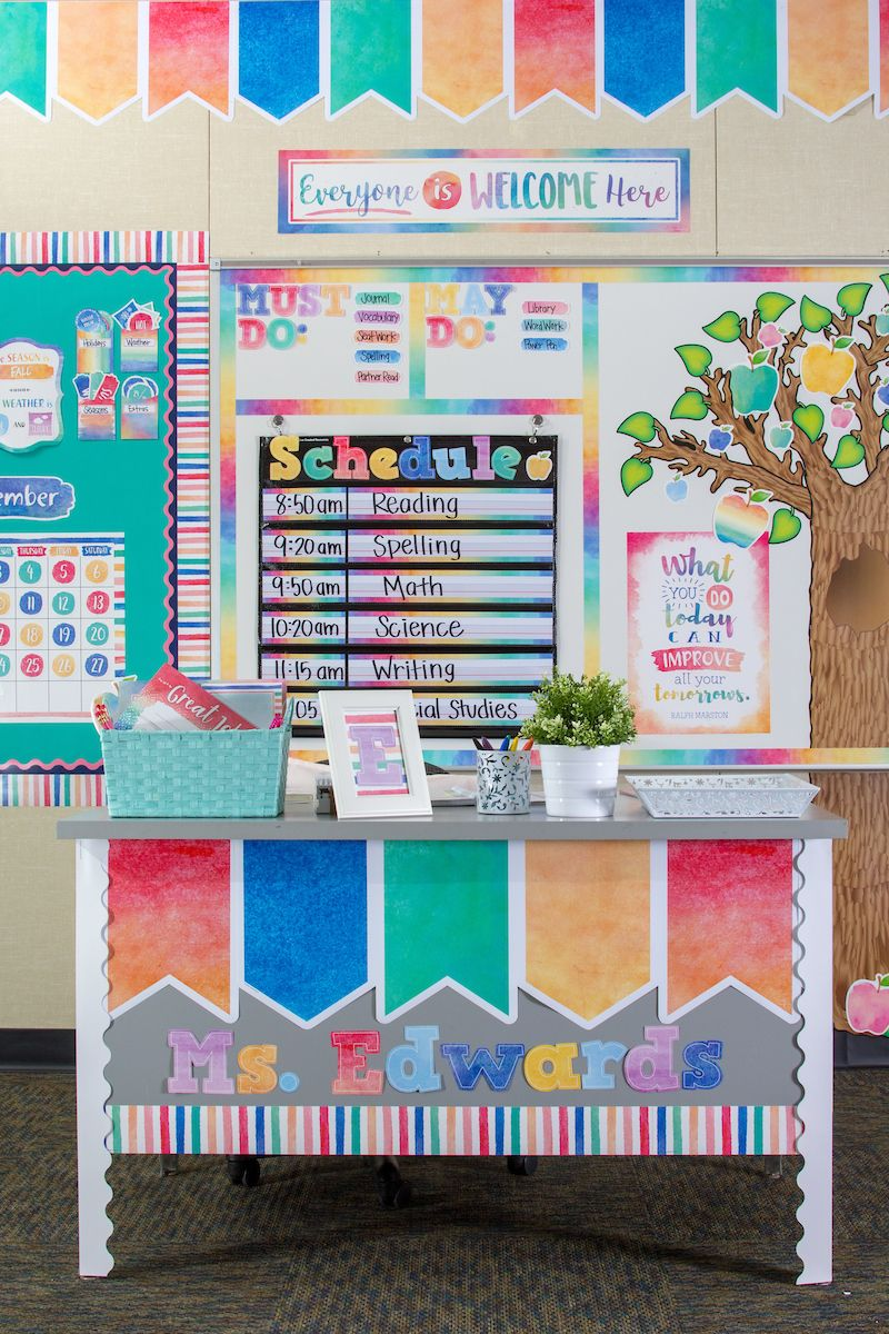 Calm and colorful classroom decor make lovely displays with a whole spectrum of colors.