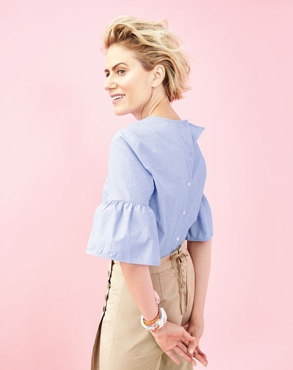 600715d0d2c3 J.Crew women s button-back bell-sleeve top and sailor chino.