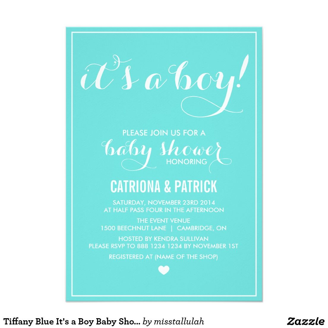 Tiffany Blue It\'s a Boy Baby Shower Invitation | Boy baby showers ...