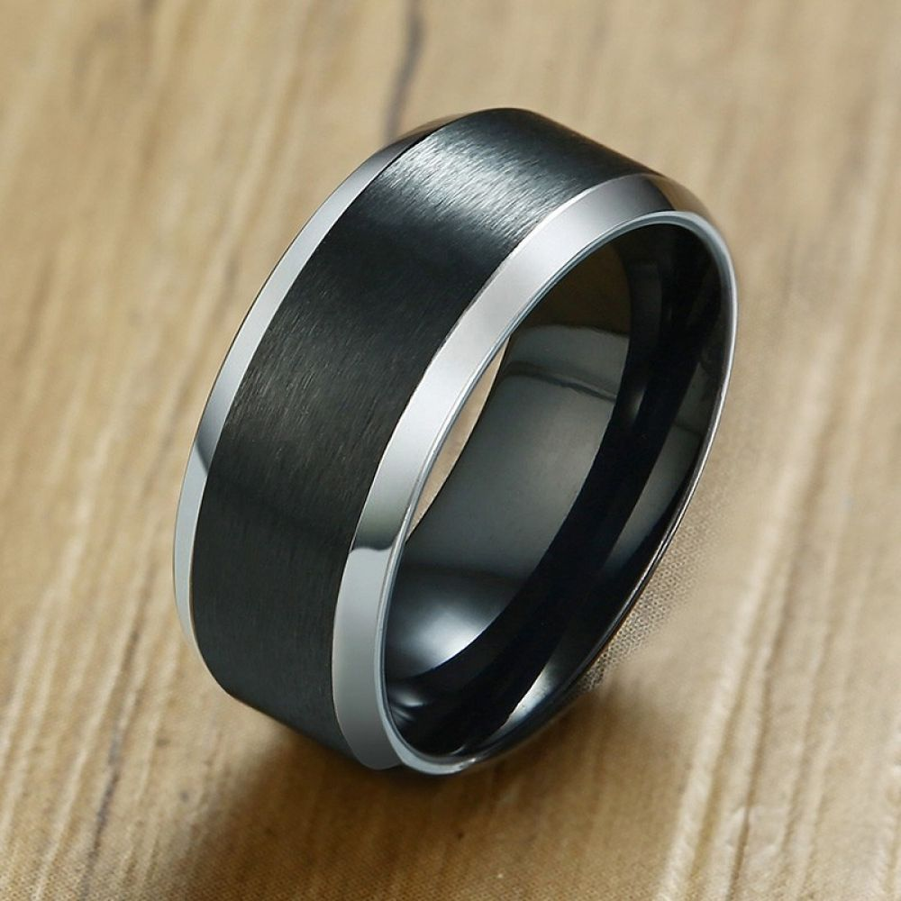 Stylish Silver Edge Wedding Ring For Men 316L Stainless Steel Black Color Anillos Hombre Engagement Accessories