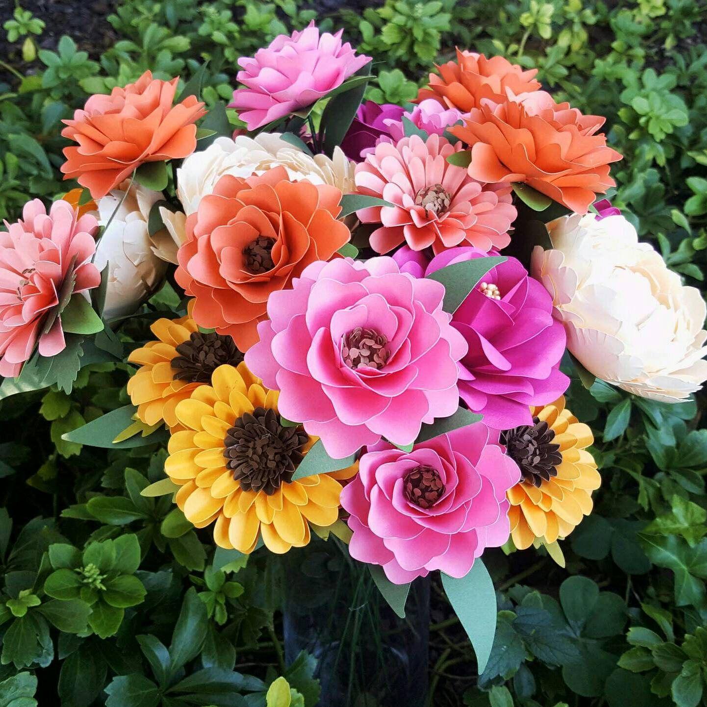 Custom Made Paper Bouquet - Paper Flower Bouquet - Wedding Bouquet ...