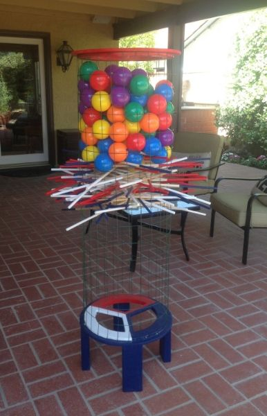 Giant Kerplunk Game As Well Large Knock Your Block Off For Backyard Fun