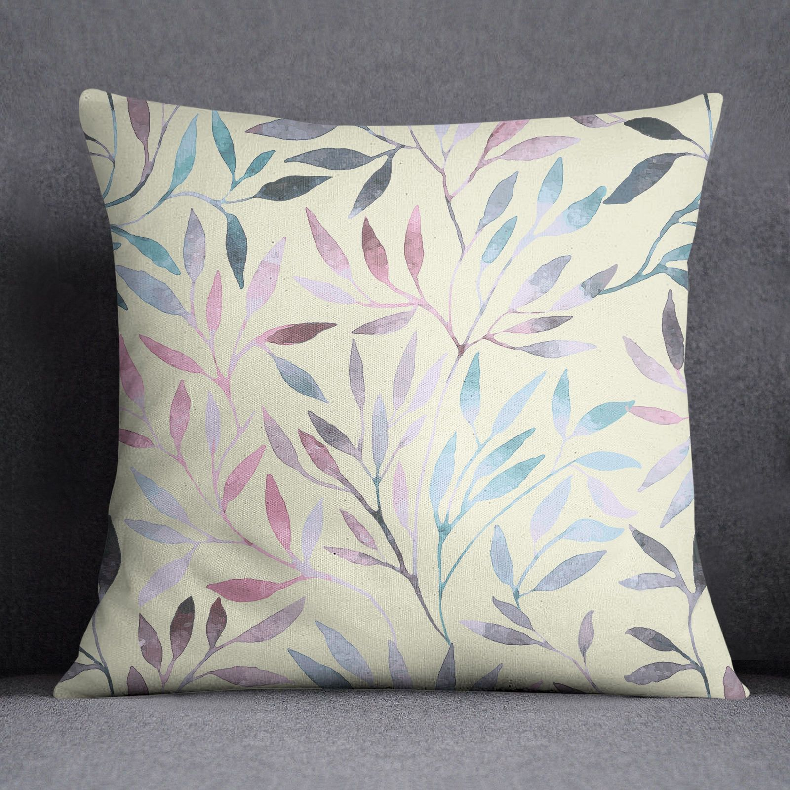 Ssassy decorative leaves printed cushion cover beige pillow case