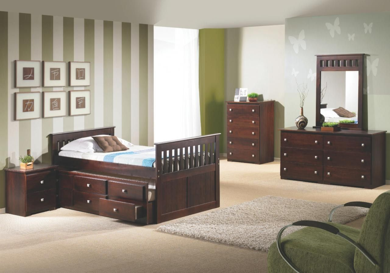Espresso FULL Size Captain's Bed With TRUNDLE & STORAGE