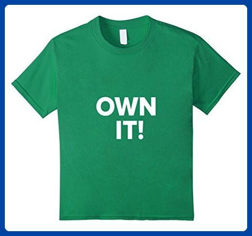 Kids Urban Active Sports OWN IT Motivational T Shirt 10 Kelly Green