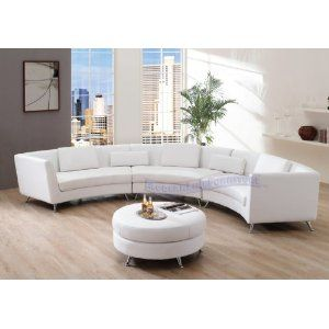 Curved White Leather Sofa Round Sofa Living Room Sets