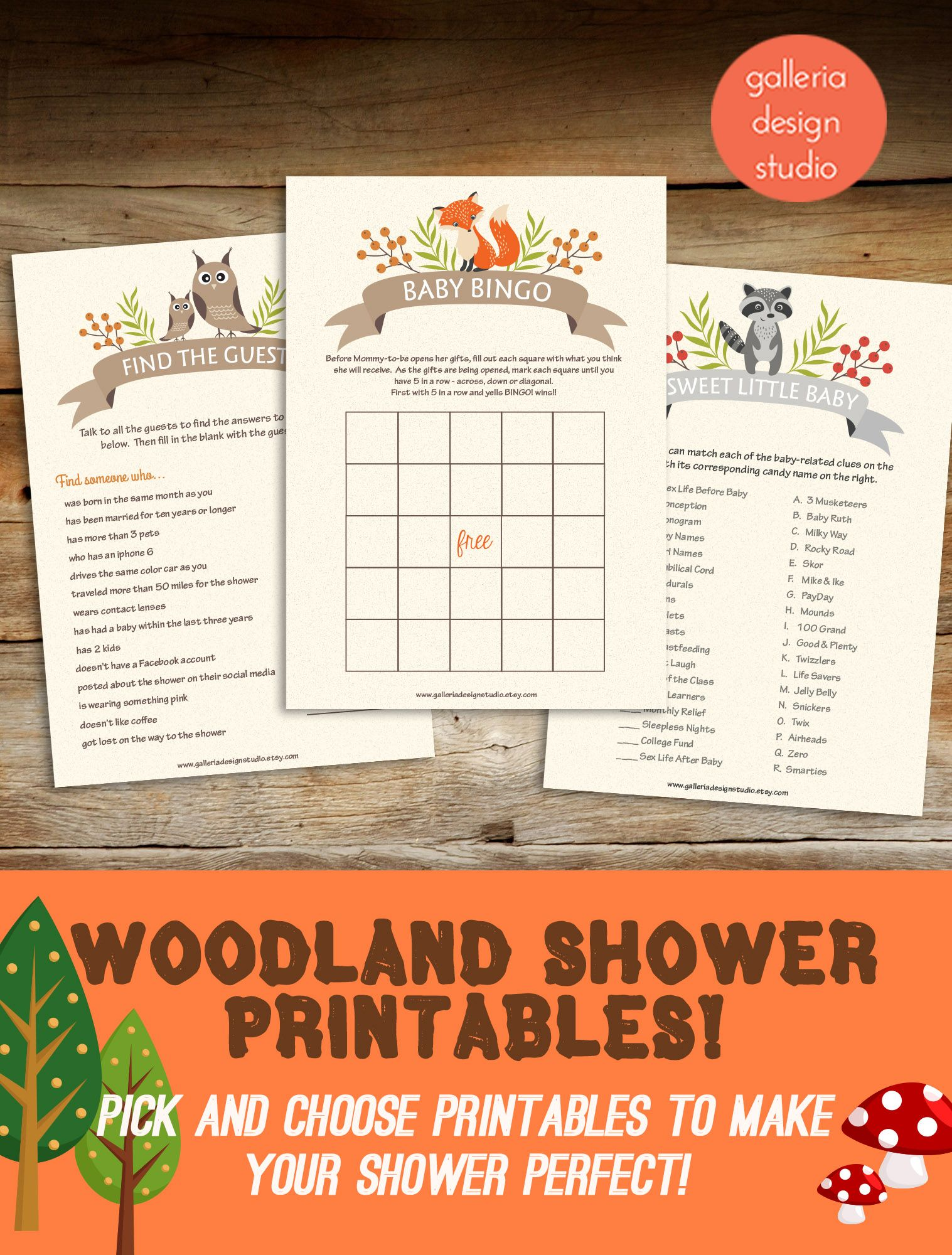 Woodland Baby Shower Games You Can Download Instantly And Print At Home