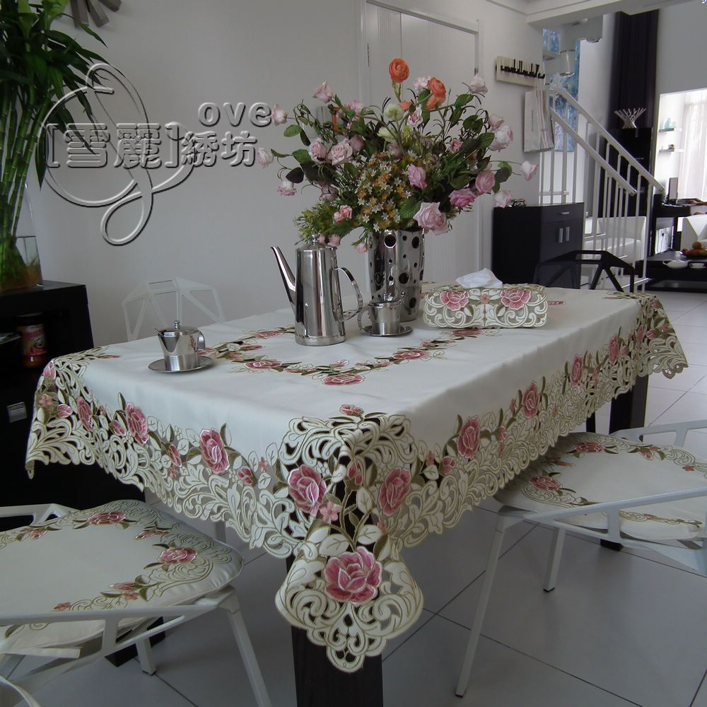 Beautiful Rustic Fashion Quality Embroidery Fabric Dining Table Cloth Tablecloth Cutout Cover Towel Pink Rose Dining Table Cloth Table Decorations Dining