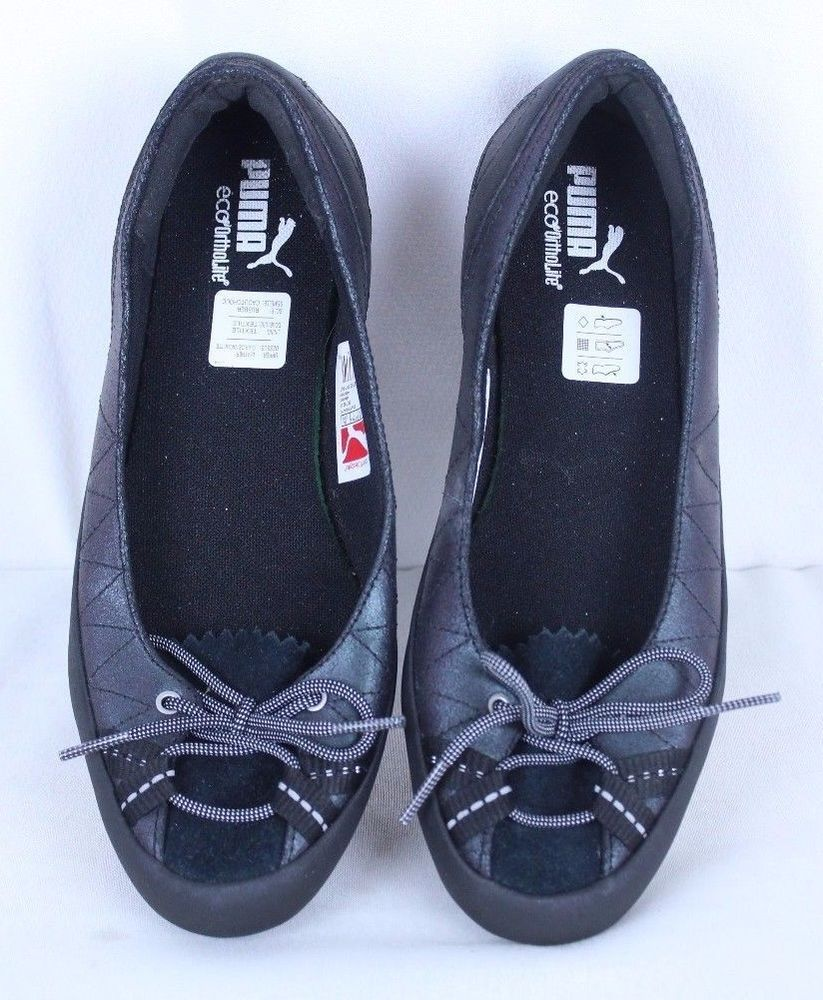 48f860c4de4 PUMA ECO ORTHOLITE Black Iridescent Flat Shoes Size 7M Slip On Ballet Flats   PUMA  BalletFlats