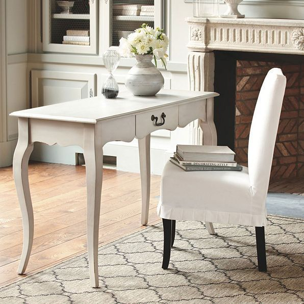Ballard designs 1 essential pleated couture off white dining chair slipcover ballarddesigns frenchcountry