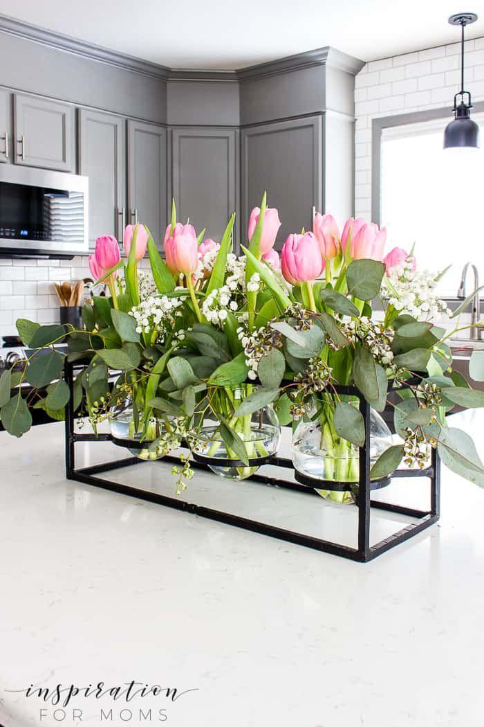 Elegant Tulip Eucalyptus Floral Arrangement - Inspiration For Moms