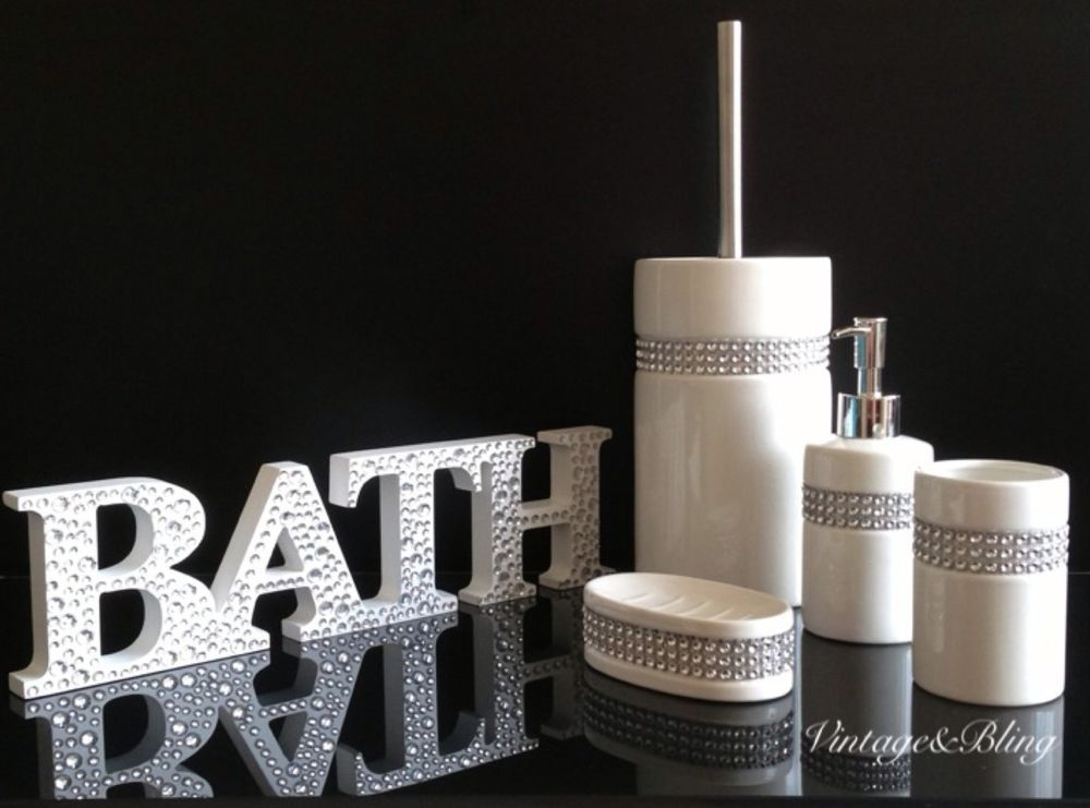 New 5pc Diamante Bling White Ceramic Bathroom Accessory Set