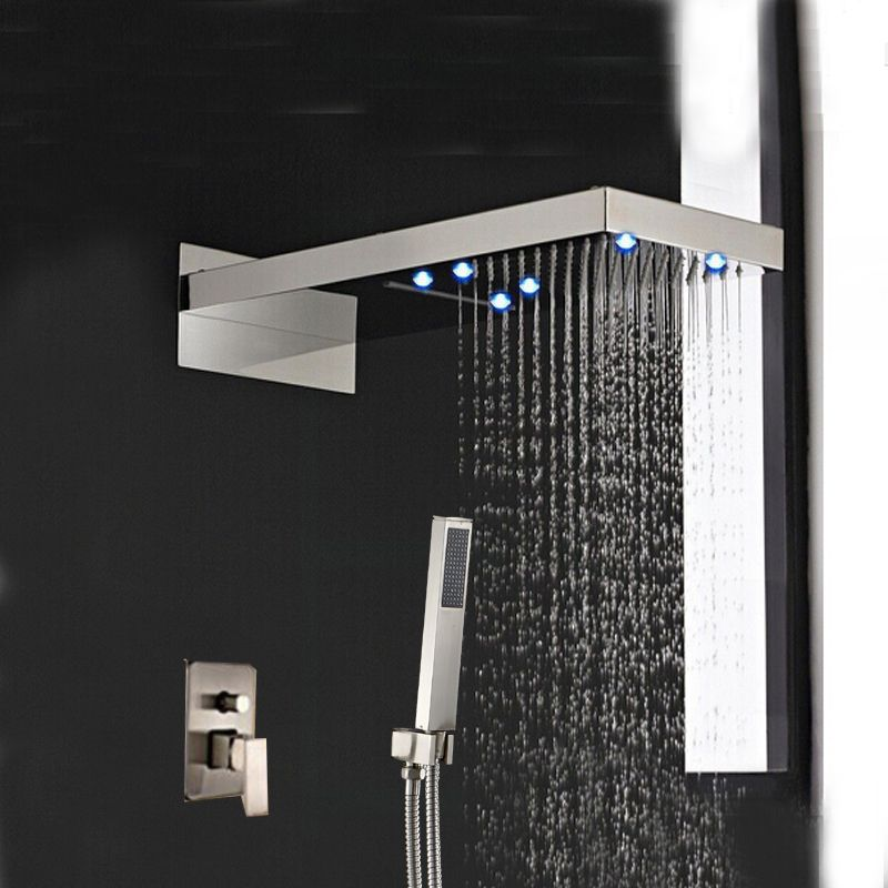 brushed nickel square rain shower head. LED Brushed Nickel 22  Square Rain Shower Faucet Valve Mixer Tap Hand