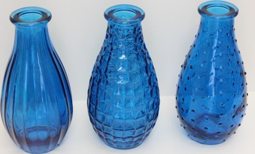 Set Of 4 Four Cobalt Blue Bottles Bud Vase Glass Vases Mini Ribbed