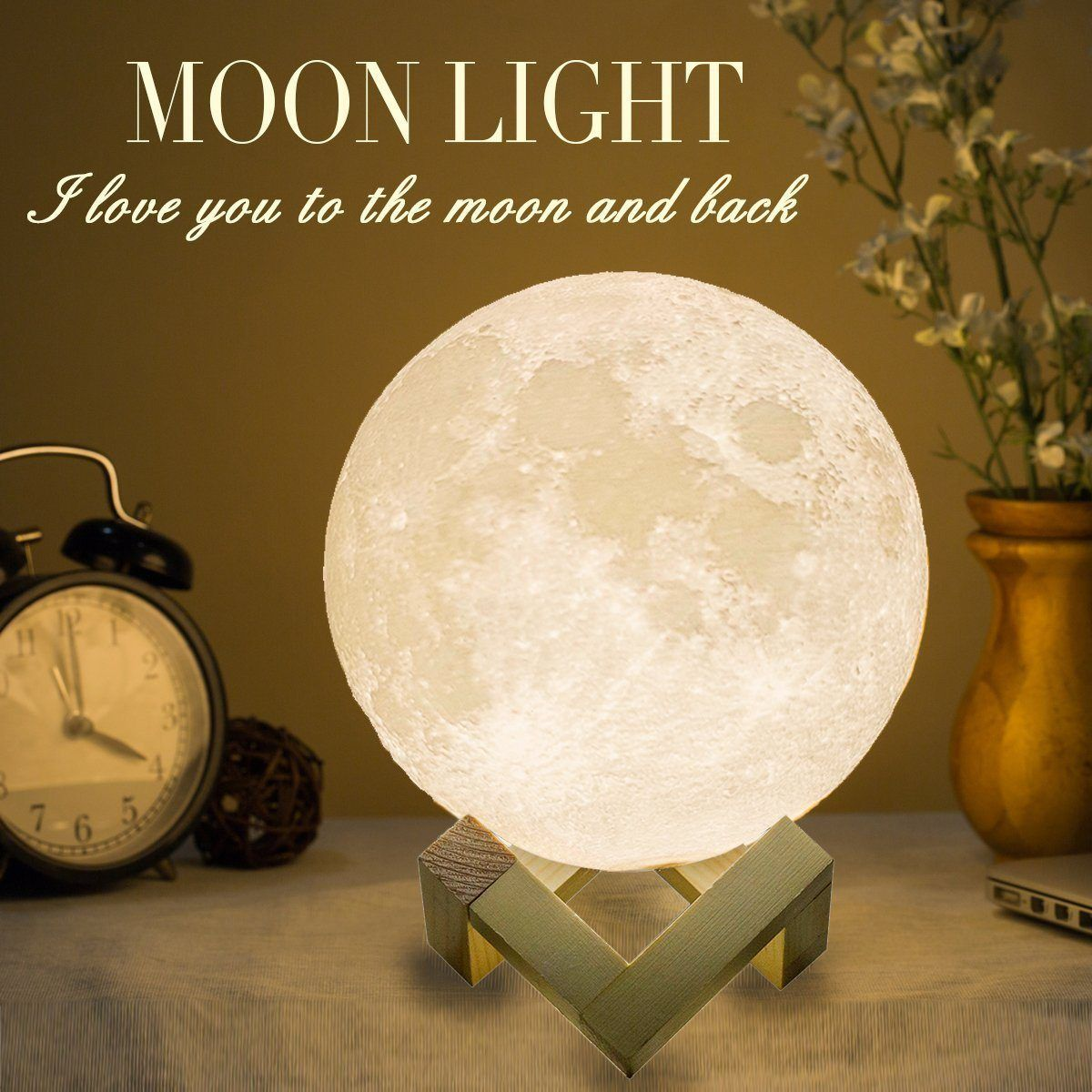 Mydethun Moon Lamp Moon Light Night Light Usb Charging And Touch Control Brightness 3d Printed Warm And Cool White Lunar Lamp Eclectic Table Lamps Night Light Wooden Lamp
