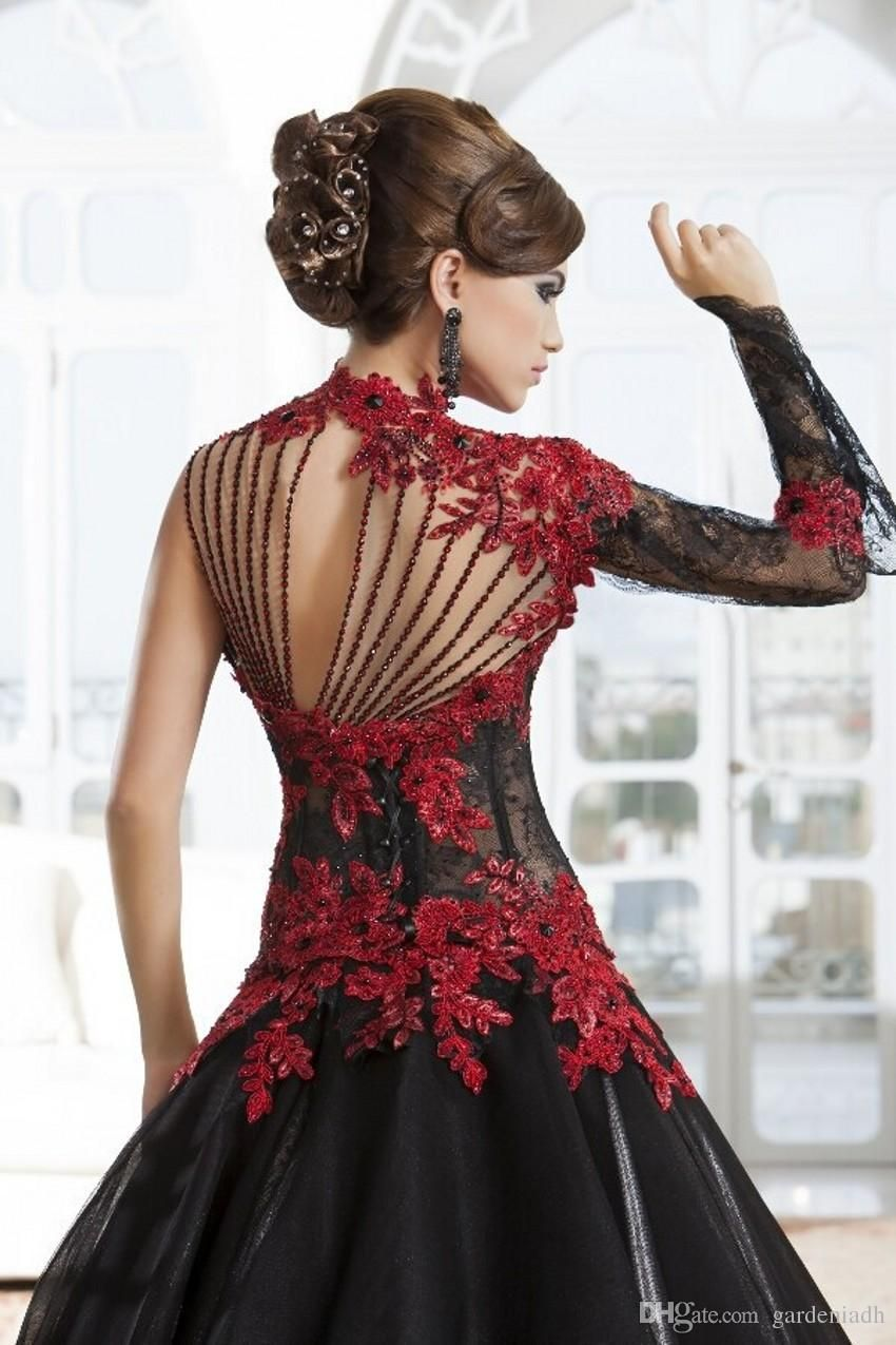Buy Wholesale Black And Red Lace Wedding Dresses Ball Gown Stand Up High Neck Sexy