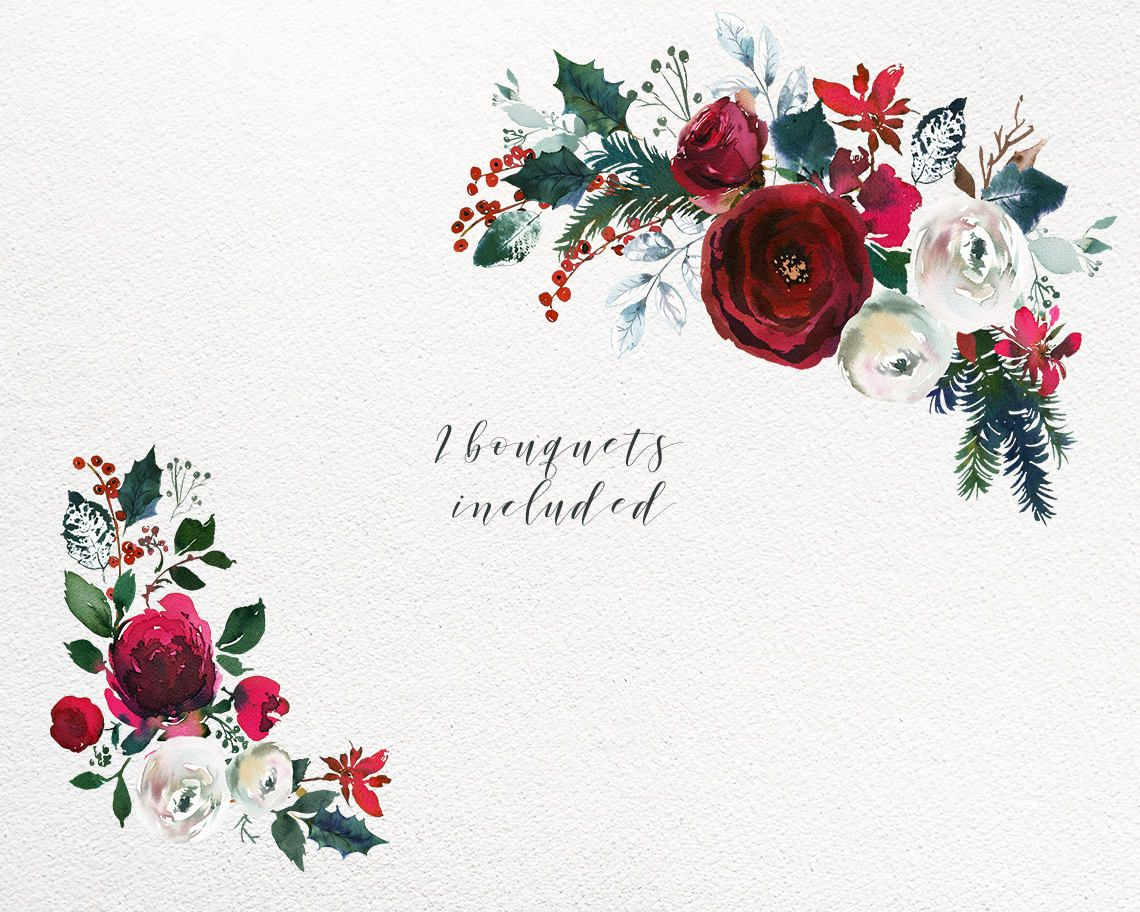 Christmas Watercolor Floral Clipart Watercolour Red Burgundy