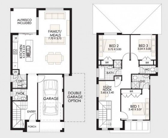 planos de casa de dos pisos de tres dormitorios 02