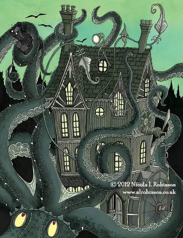 Nicola L Robinson Giant Squid Attack illustration gothic childrens book | Octopus | Pinterest