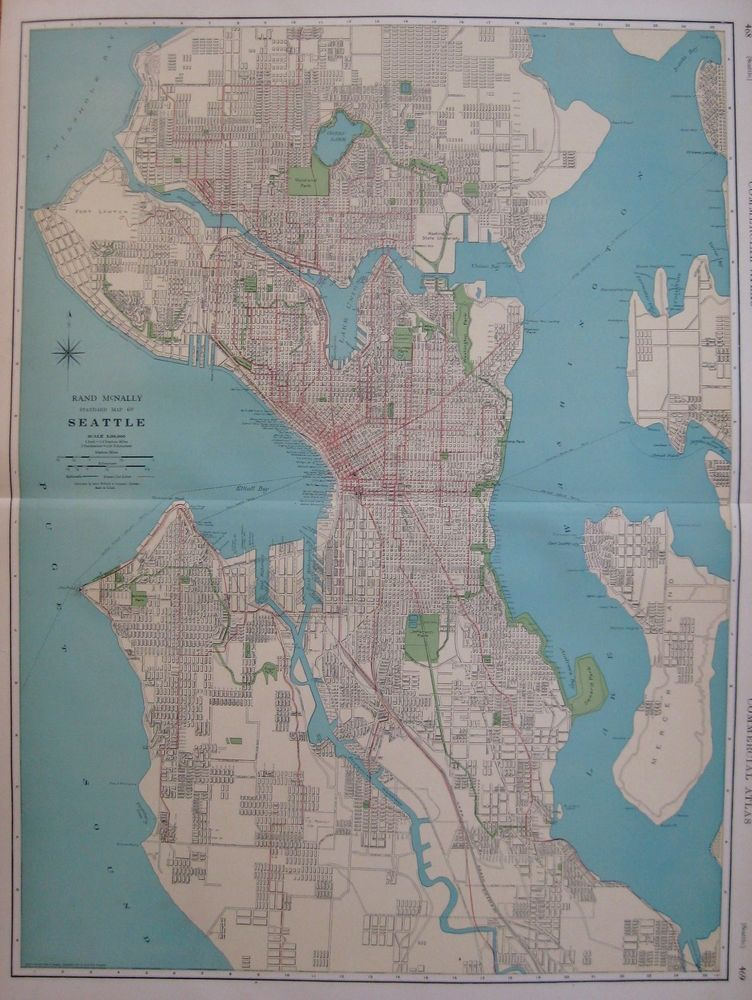 1927 Antique SEATTLE WASHINGTON Map Uncommon Size