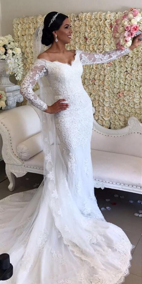 8aa113af547 Appliques Lace Wedding Dress