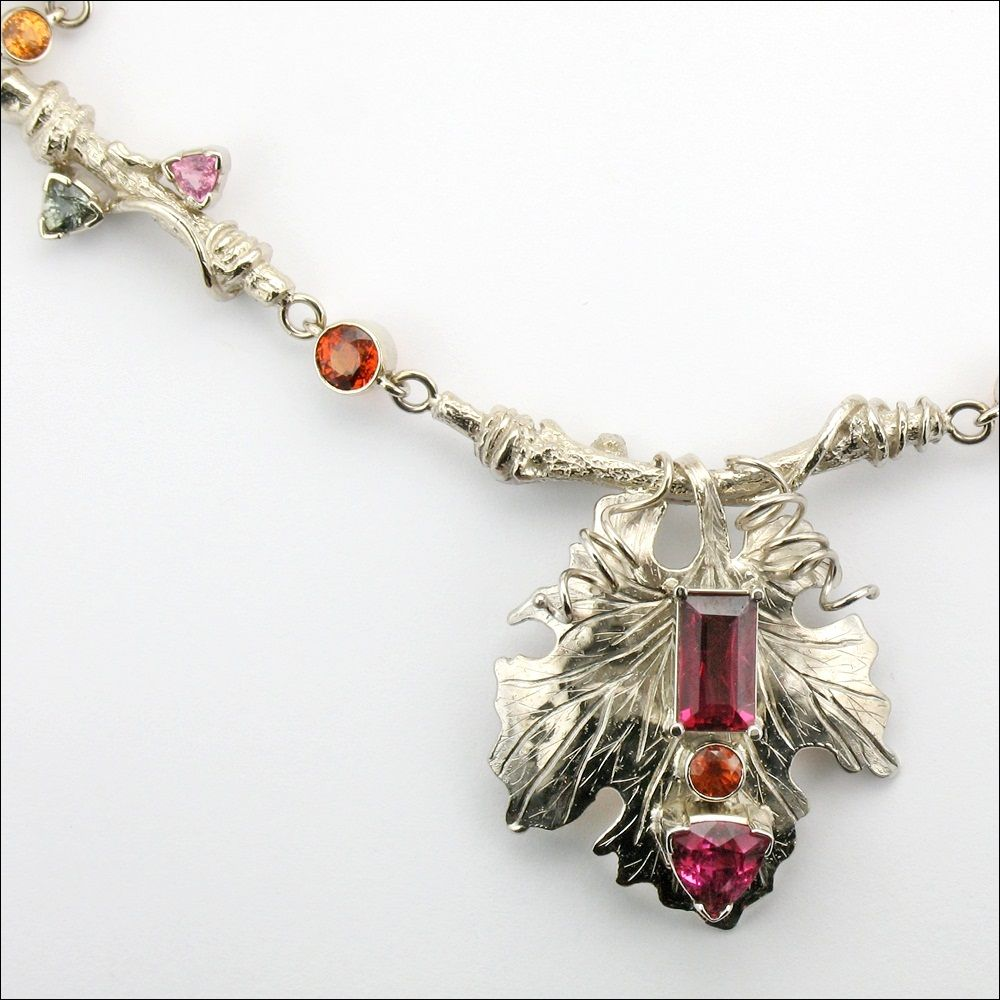 Custom Vineyard Themed Necklace with Sapphires and Tourmaline - perfect for the Finger Lakes