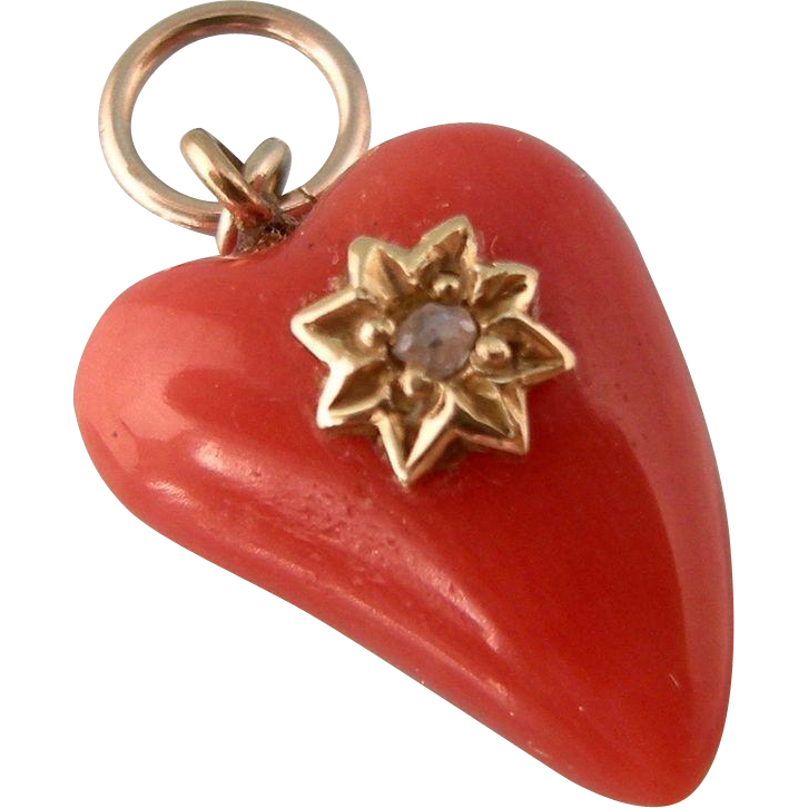 Coral, Diamond and 14K Gold Heart, Antique Victorian..