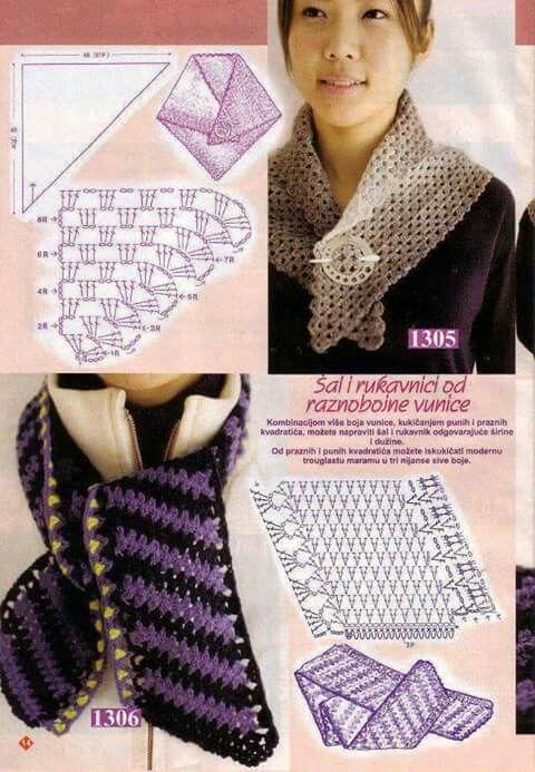 Bufanda a ganchillo con gráfico. | crochet shawl, poncho, scarf ...