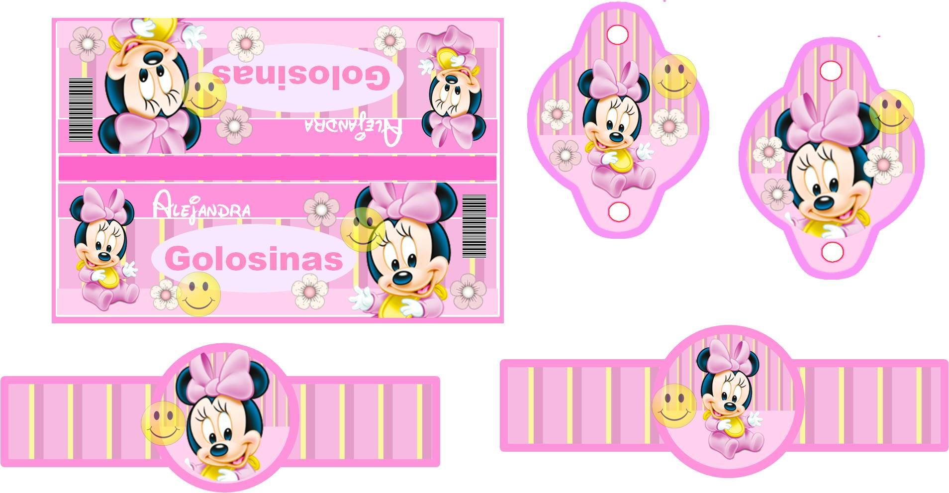 Kit Imprimible Minnie Mouse Bebe Rosa Tarjetas Recuerdos | Minnie ...