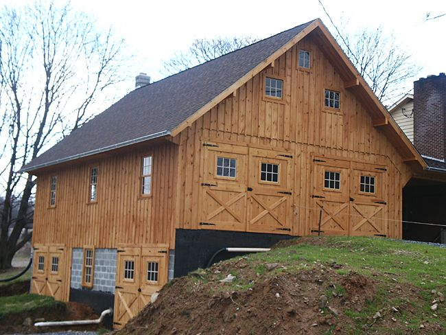 Bank Barn Construction With Wood Siding Barn Construction Bank Barn Barn Design