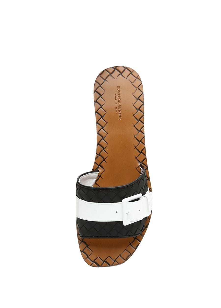 Bottega Veneta Siyah Beyaz Kadin Siyah Taba Orgu Dokulu Kadin Deri Terlik 622799 Beymen Terlik Bottega Veneta Ayakkabilar