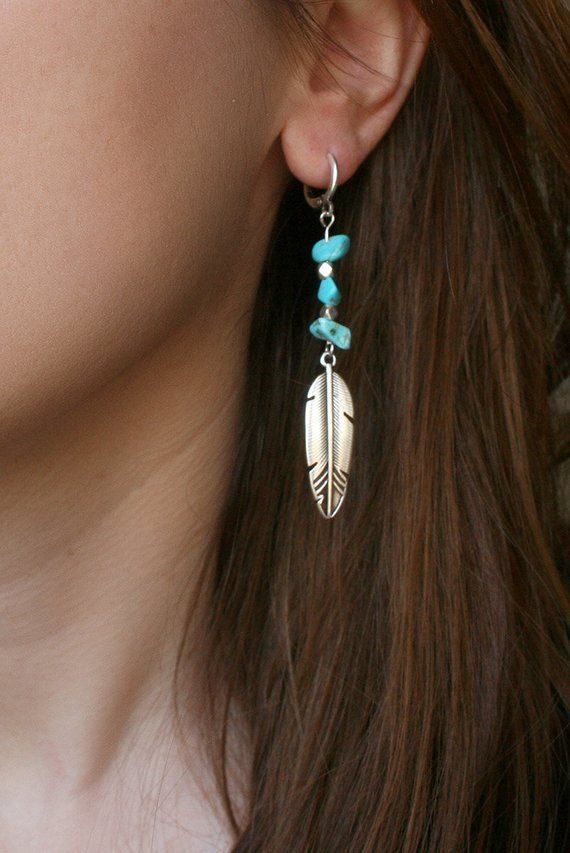 Single dangle earring made of turquoise chip beads and vistage silver feather charm. The earrings'