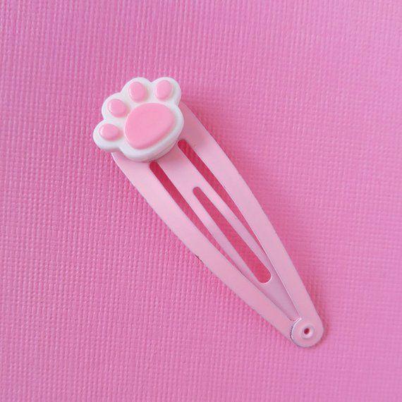 Cute Pink Kitten Paw Hair Clip Cute Kawaii Fairy Kei Hair Etsy Cute Pink Kawaii Hair Clips Kawaii Hairstyles