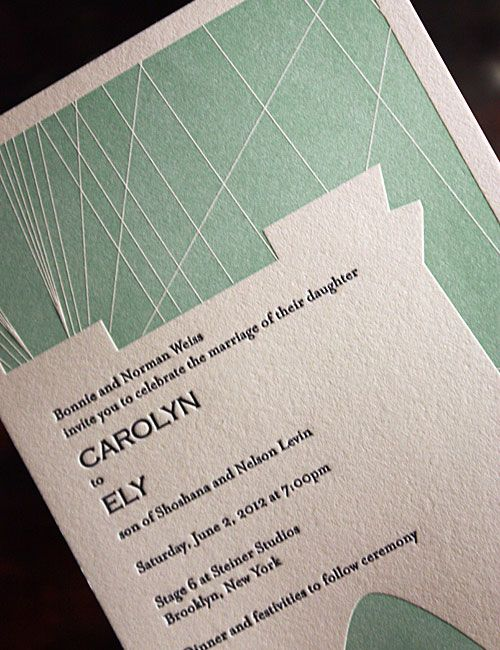 Modern Collection Mint And White Geometric Wedding Invitation Set