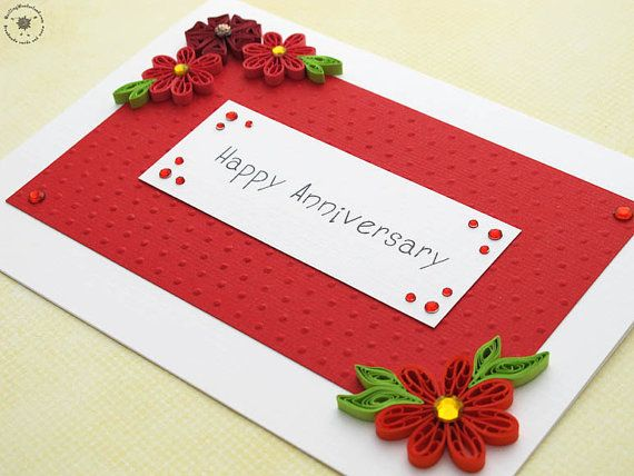 Anniversary Card Happy Anniversary Paper Quilling Floral Card Red Green Quilling Birthday Cards Birthday Cards Diy Quilling Cards