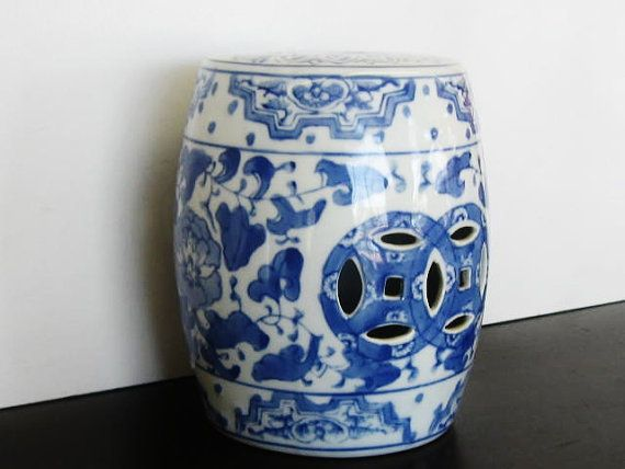 Mini Garden Stool Blue And White Chinoiserie By TheGildedTassel, $26.00