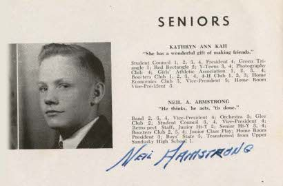 "Neil Armstrong, 1947 yearbook page from Blume High School, Wapakoneta, Ohio:  ""He thinks, he acts, 'tis done."""