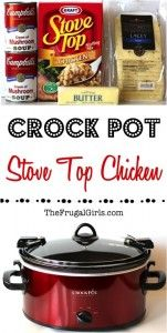 Crockpot Stove Top Chicken Recipe - from TheFrugalGirls.com