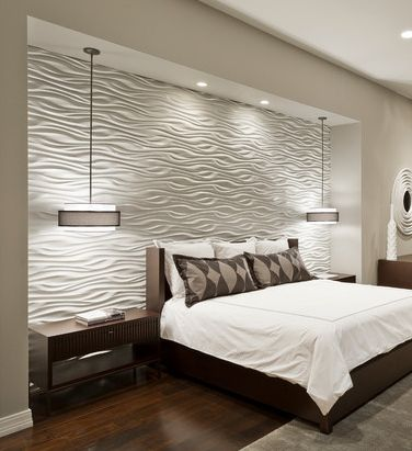 Wonderful Bedroom Wall Ideas In Many Colors: Cool Bedroom Wall Ideas In  Modern Interior With Grey Color Design Used Wooden Flooring And Glass  Sliding Door ...